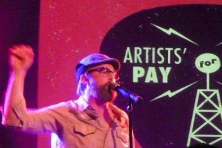 "image for article David Byrne, Mike Mills, John McCrea Perform In Support of ""Pay For Radio Play"" at LPR, NYC 2.25.2014 [Zumic Review + Photos]"