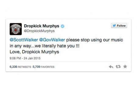 "image for article Dropkick Murphys Tell Wisconsin Governor ""stop using our music in any way...we literally hate you"" on Twitter"