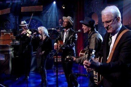 "image for article ""Will The Circle Be Unbroken"" - Steve Martin, Emmylou Harris, Rodney Crowell, Mark O'Connor, and Amos Lee on Letterman May 1, 2015 [YouTube Official Video]"