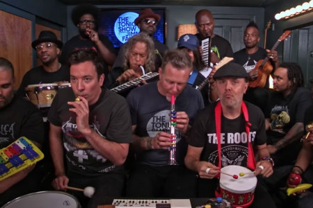 "Watch Metallica Join Jimmy Fallon and The Roots To Perform ""Enter Sandman"" on Classroom Instruments [YouTube Video]"
