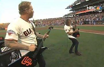 james-hetfield-kirk-hammett-Star-Spangled-Banner-San-Francisco-Giants-Game-Dodgers-2013