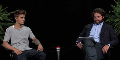 "image for article Justin Bieber Interviewed by Zach Galifianakis on ""Between Two Ferns"" [Funny or Die Video]"