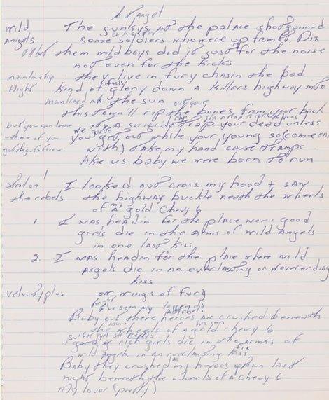 born-to-run-lyrics-auction-bruce-springsteen