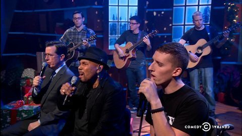 colbert-report-christmas-carol-hallalujah-musicorps-aaron-neville-2013-video