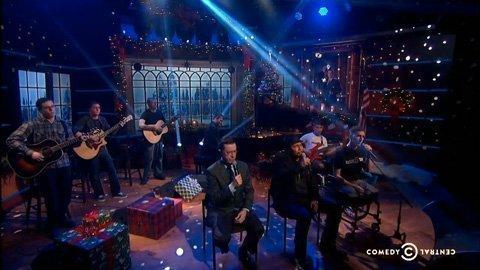 colbert-report-christmas-carol-silent-night-musicorps-aaron-neville-2013-video