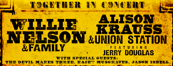 image for article Willie Nelson & Alison Krauss 2014 Tour Dates & Ticket Presale Info; Featuring Openers Jerry Douglas, The Devil Makes Three, Jason Isbell, Kacey Musgraves, and The Wild Feathers