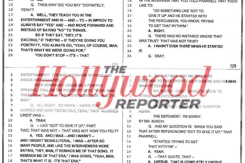 "image for article Robin Thicke ""Blurred Lines"" Deposition Transcript Reveals Lies and Drug Abuse"