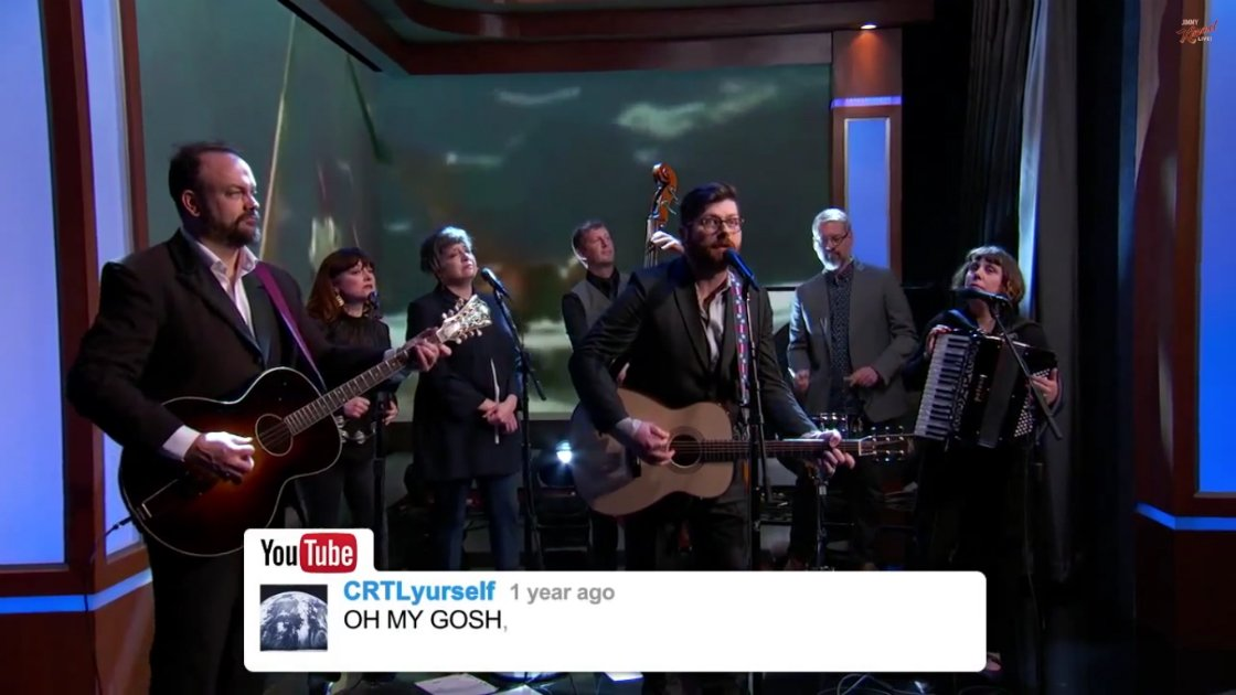 image for article The Decemberists Sing YouTube Comments on Jimmy Kimmel Live 1.22.2015 [YouTube Video]
