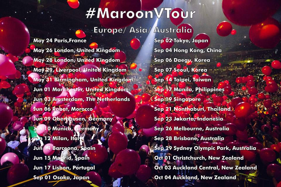 Maroon 5 tour dates in Melbourne