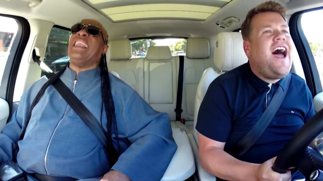 image for article Stevie Wonder Carpool Karaoke on The Late Late Show with James Corden on Sep 14, 2015 [YouTube Official Video]