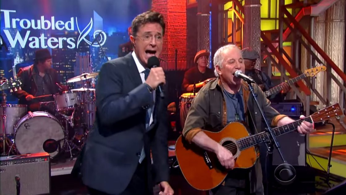 image for article Paul Simon & Stephen Colbert Late Show Performances on Sep 11, 2015 [YouTube Official Videos]
