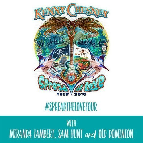"image for article Kenny Chesney Announces 2016 ""Spread The Love"" Tour Dates with Miranda Lambert, Sam Hunt, and Old Dominion: Ticket Presale Code Info"