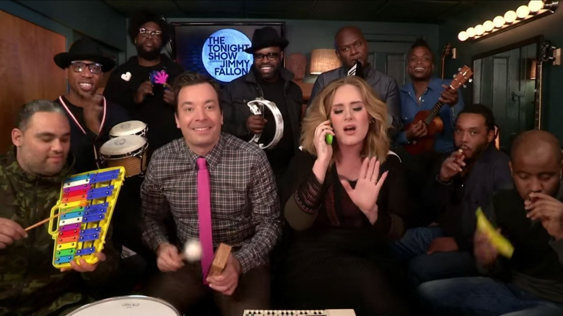 "image for article Adele Performs ""Hello"" with Classroom Instruments and ""Water Under The Bridge"" on The Tonight Show, 2015 [YouTube Official Videos]"