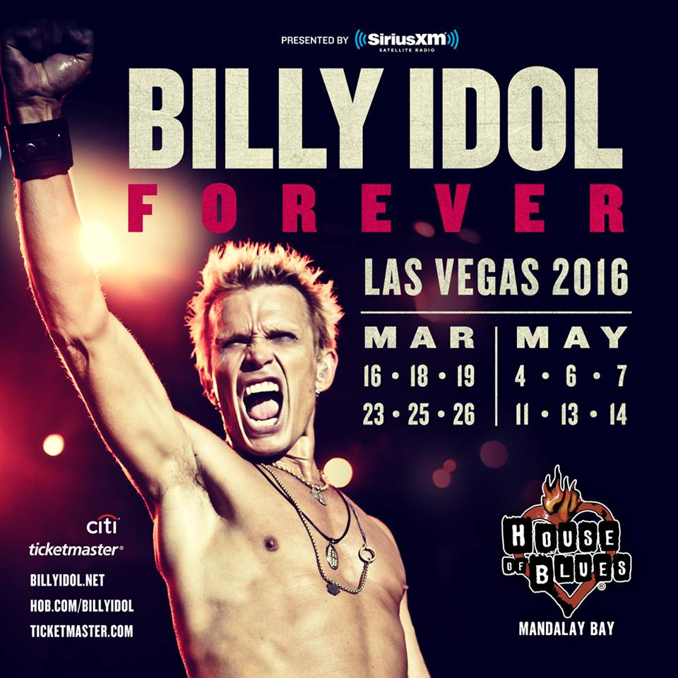 image for article Billy Idol Announces 2016 Las Vegas Residency at House of Blues: Ticket Presale Code Info