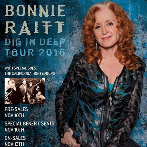 "image for article Bonnie Raitt Shares 2016 ""Dig In Deep"" Tour Dates with The California Honeydrops: Ticket Presale Code Info"