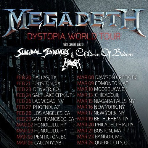 "image for article Megadeth Announce 2016 ""Dystopia World Tour"" Dates: Ticket Presale Code Info"