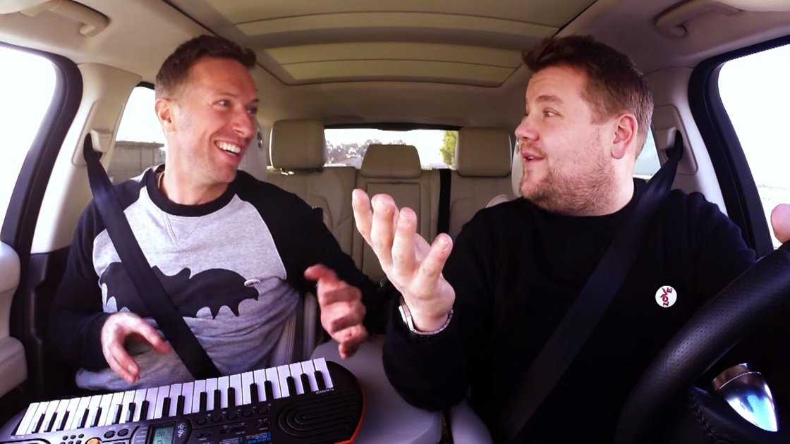 image for article Chris Martin Sings Coldplay, David Bowie, and More During Carpool Karaoke with James Corden, 2016 [YouTube Official Video]