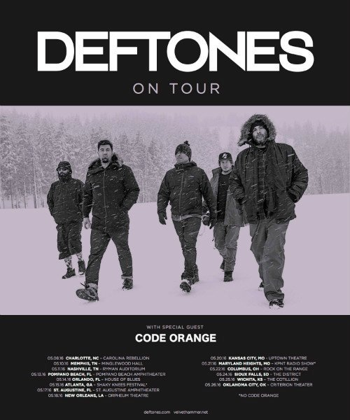 image for article Deftones Announce May 2016 Tour Dates with Code Orange: Ticket Presale Code Info