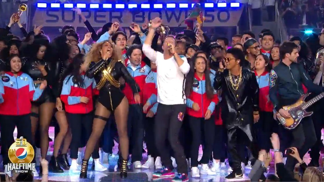 image for article Watch Coldplay's Super Bowl 50 Halftime Show, featuring Beyonce & Bruno Mars on February 7, 2016 [NFL Full Official Videos]