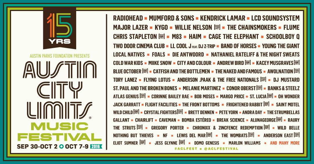 image for article Austin City Limits Festival 2016 Edition to Launch in September with Radiohead and Mumford & Sons
