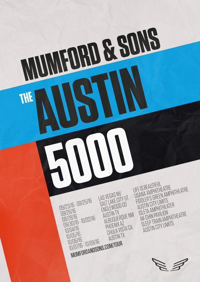 "image for article Mumford & Sons Extend 2016 Tour Dates with ""Austin 5000"": Ticket Presale Code Info"