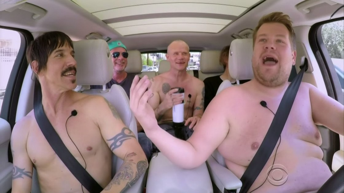 image for article Red Hot Chili Peppers Sing Their Greatest Hits and Wrestle with James Corden During Carpool Karaoke, 2016 [YouTube Video]