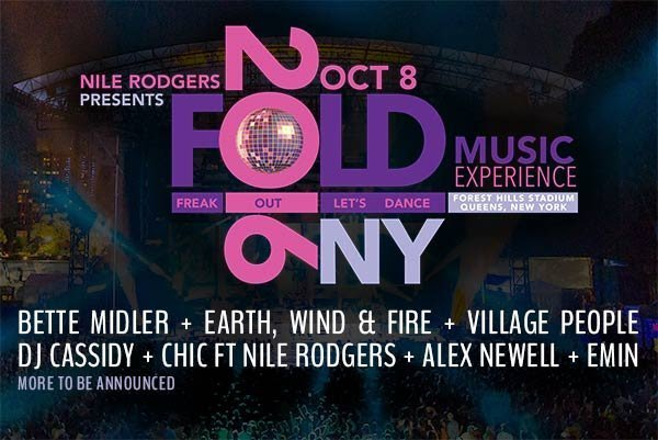 image for event FOLD Music Experience: CHIC ft Nile Rodgers, Bette Midler, Earth Wind & Fire, Village People, and more