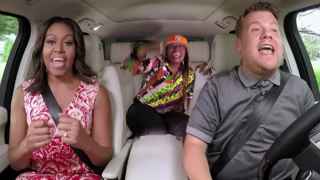 image for article Michelle Obama and Missy Elliot Rock Out with James Corden on The Late Late Show Carpool Karaoke [YouTube Video]