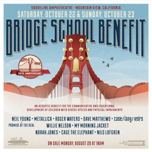 image for article 30th Annual Bridge School Benefit Concert to Feature Neil Young, Metallica, Roger Waters, and More on October 22-23, 2016: Ticket Info