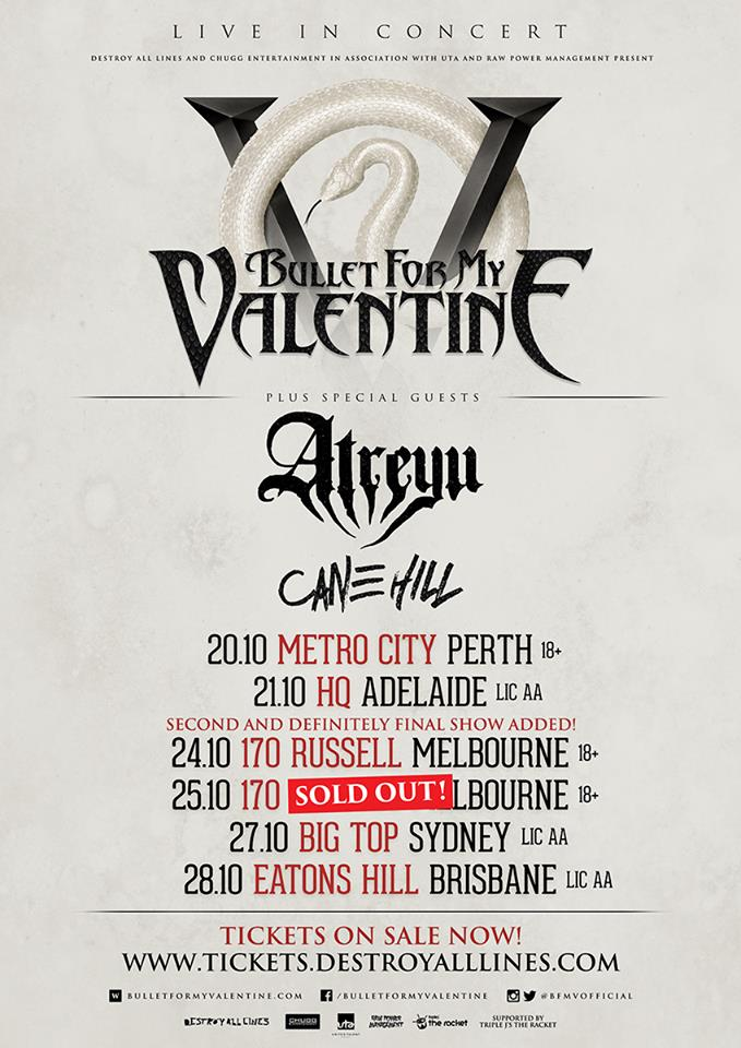 image for event Bullet For My Valentine, Atreyu, and Cane Hill