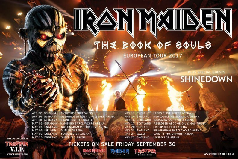 image for article Iron Maiden Add 2017 World Tour Dates with Shinedown: Ticket Presale Code Info