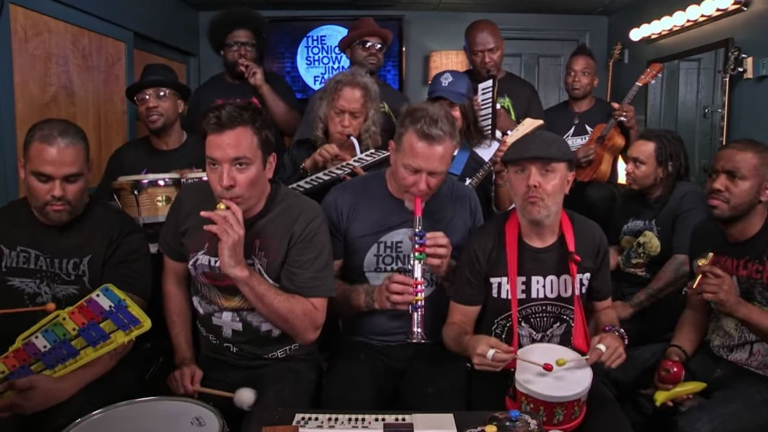 "image for article Watch Metallica Join Jimmy Fallon and The Roots To Perform ""Enter Sandman"" on Classroom Instruments [YouTube Video]"