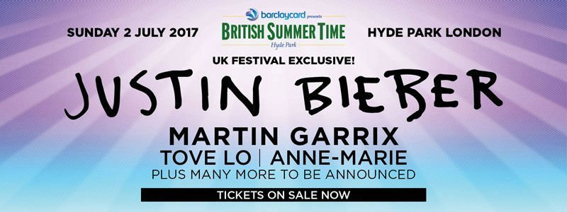 image for event British Summer Time: Justin Bieber, Martin Garrix, Tove Lo, and More