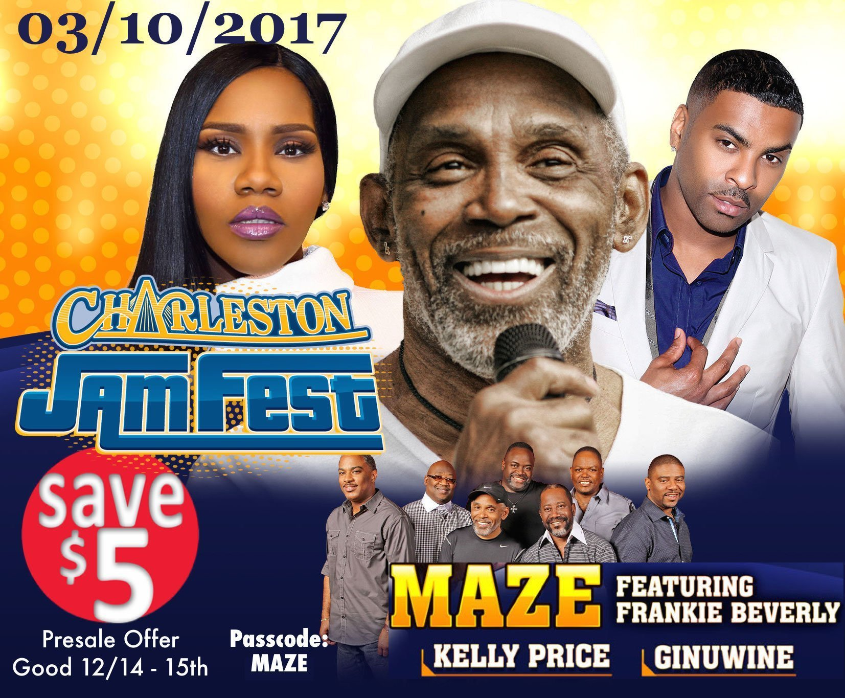 image for event Charleston Jam Fest: Frankie Beverly, Maze, Ginuwine and more