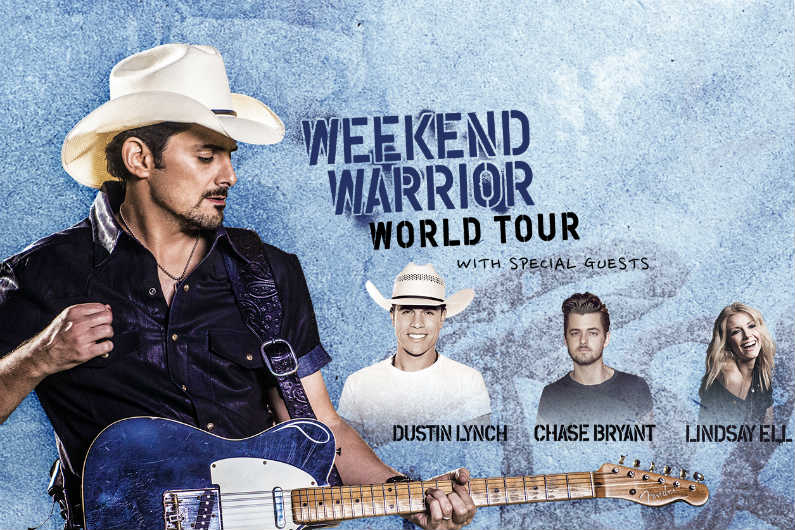 image for article Brad Paisley Adds 2018 'Weekend Warrior World Tour' Dates: Ticket Presale Code & On-Sale Info