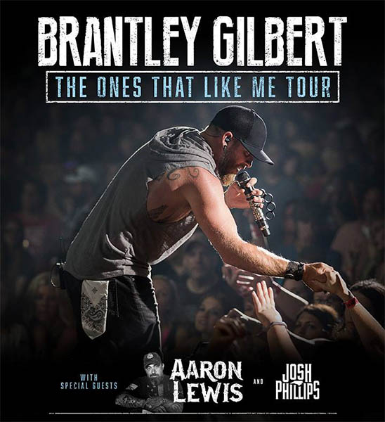 image for event Brantley Gilbert, Aaron Lewis, and Josh Phillips