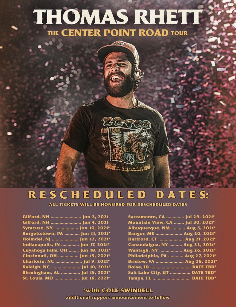 Thomas Rhett Reschedules 2020 Tour Dates Tickets Now On Sale Zumic Music News Tour Dates Ticket Presale Info And More